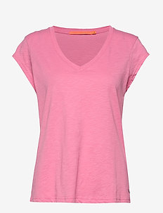 Basic tee w. v-neck - CANDY PINK