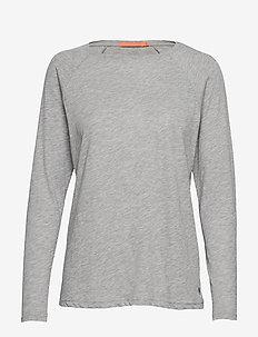 Longsleeved T-shirt w. raglan sleev - long-sleeved tops - light grey melange