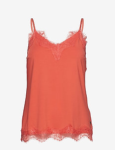 Strap top w. lace - CORAL ROSE