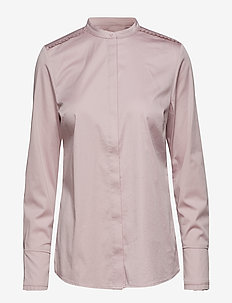 Feminine fit shirt w. plisse grosgr - SOFT ROSE