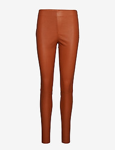 Leather stretch leggings - Mynte - RUST