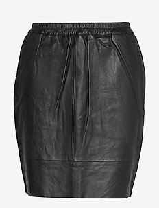 Leather skirt w. elastic in waist - BLACK
