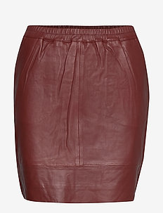 Leather skirt w. elastic in waist - BURNT HENNA
