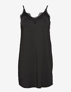 Strap dress w. lace - bodies & slips - black