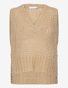Vest with v-neck and slits - gebreide vesten - dark beige