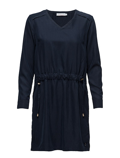 Dress w. tie string - DARK BLUE
