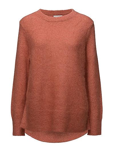 Knit top w. round bottom edge - BRANDY MELANGE