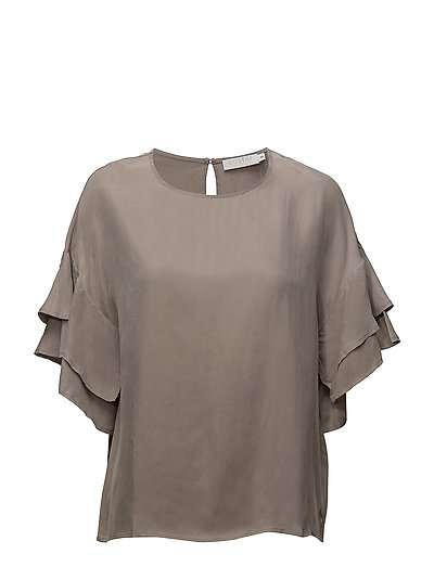 Cupro top w. volant sleeves - SANDSHELL