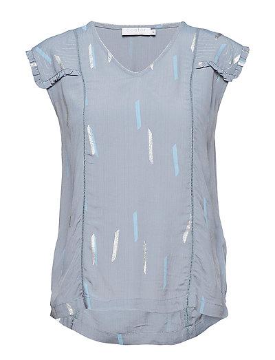 Top w. summer rain print - STEEL BLUE SUMMER RAIN