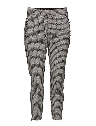 Pants w. ruffle at pockets - BLUE JACQUARD