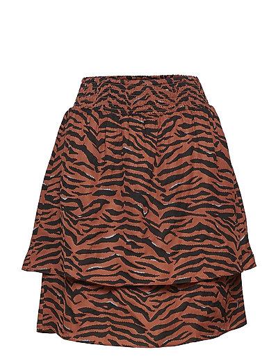 Skirt in Zebra print w. smock waist - ZEBRA PRINT