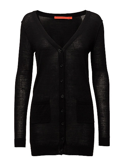 Long knit cardigan merino (Basic) - BLACK