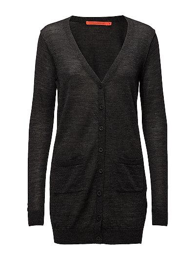 Long knit cardigan merino (Basic) - DARK GREY MELANGE