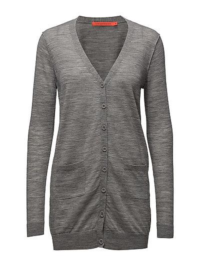 Long knit cardigan merino (Basic) - LIGHT GREY MELANGE