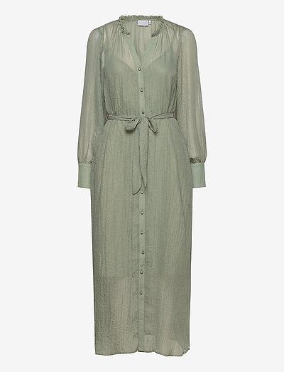 Metallic chiffon dress - sommerkjoler - dust green
