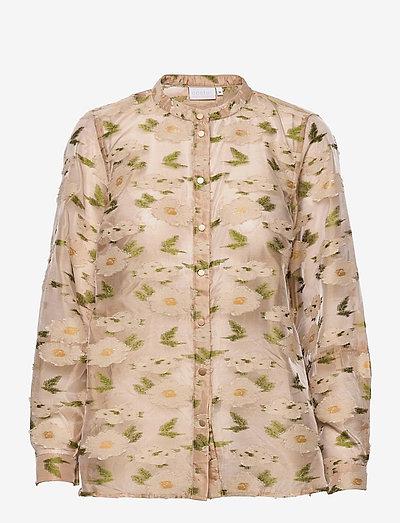 Shirt jacket in light jaquard - langærmede bluser - green flower jacquard