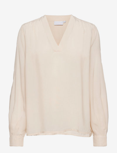 Blouse with v-neck - blouses à manches longues - cream
