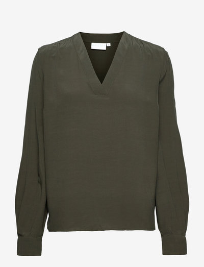 Blouse with v-neck - blouses à manches longues - hunter green