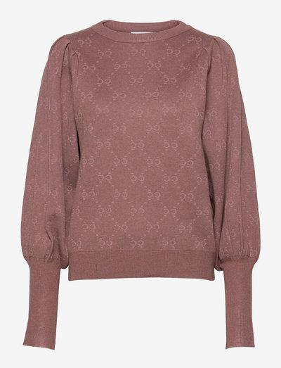 Sweater with cc jacquard - pulls - dark rose