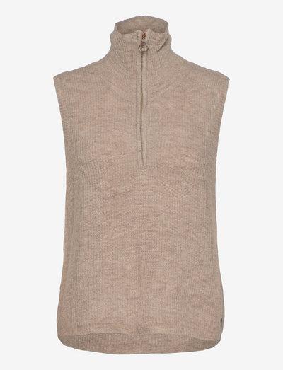 Vest with zipper at front in alpaca - vestes tricot - hazel
