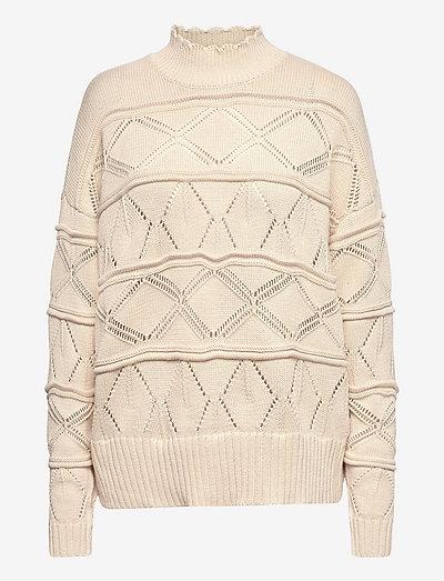 Pointelle sweater in seawool - trøjer - cream