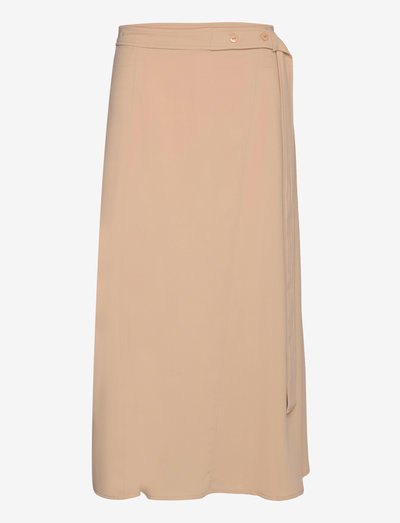 Skirt with belt detail - midinederdele - dark sand