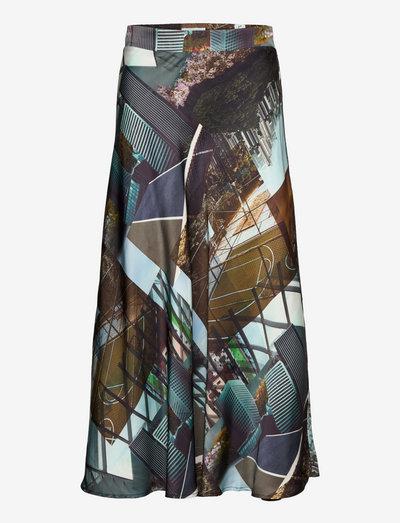 Bias skirt in Urban collage print - jupes midi - urban collage print