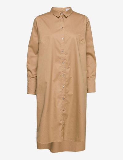 Cotton poplin shirt dress - robes de jour - camel