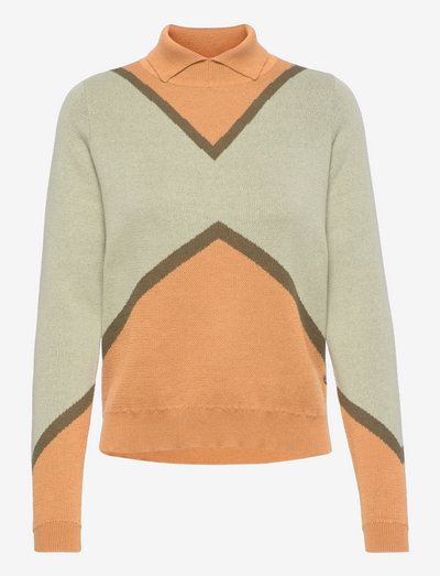 Knit with color block - jade blue