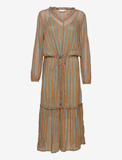 Long dress in blush stripe print - blush stripe print