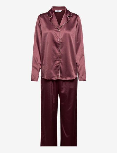 CC Heart long pyjamas set - pyjamas - burgundy/creme mix
