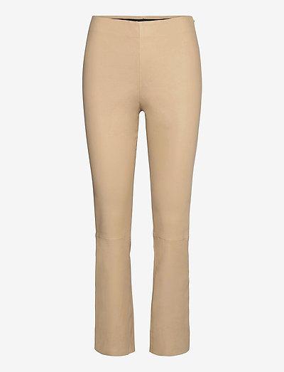 CC Heart cropped leather leggings - læderbukser - golden beige