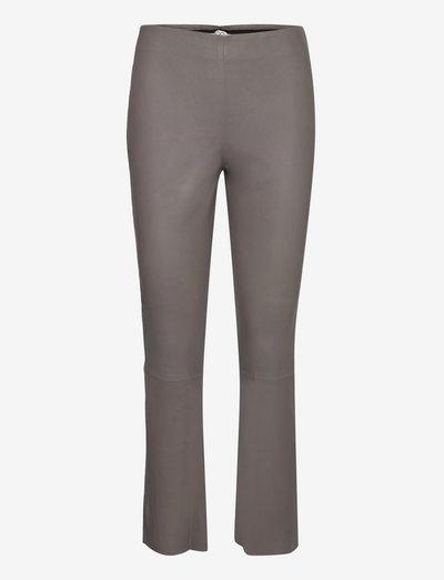 CC Heart cropped leather leggings - læderbukser - grey mud