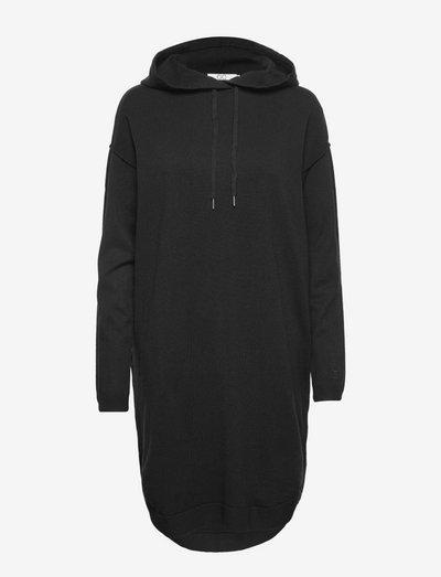 CC Heart comfy knit hoodie dress - robes de jour - black