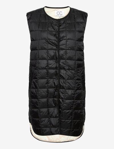 CC Heart long quilted vest - vestes rembourrées - black