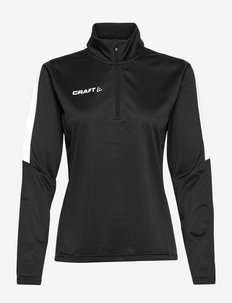 Progress Halfzip LS Tee W - sweatshirts - black/white