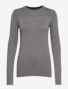 FUSEKNIT COMFORT RN LS  - topjes met lange mouwen - dk grey melange