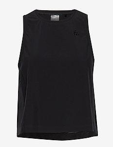 UNMTD HIGHT SLIT TOP W - linnen - black