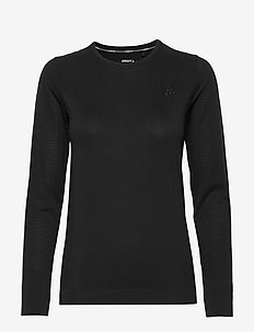 FUSEKNIT LIGHT RN LS W - longsleeved tops - black