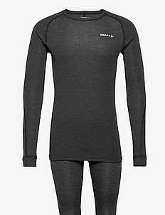 CORE WOOL MERINO SET M - base layer sets - black melange