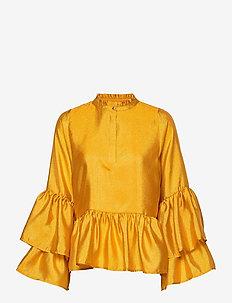 Alfridacras Blouse - långärmade blusar - golden yellow
