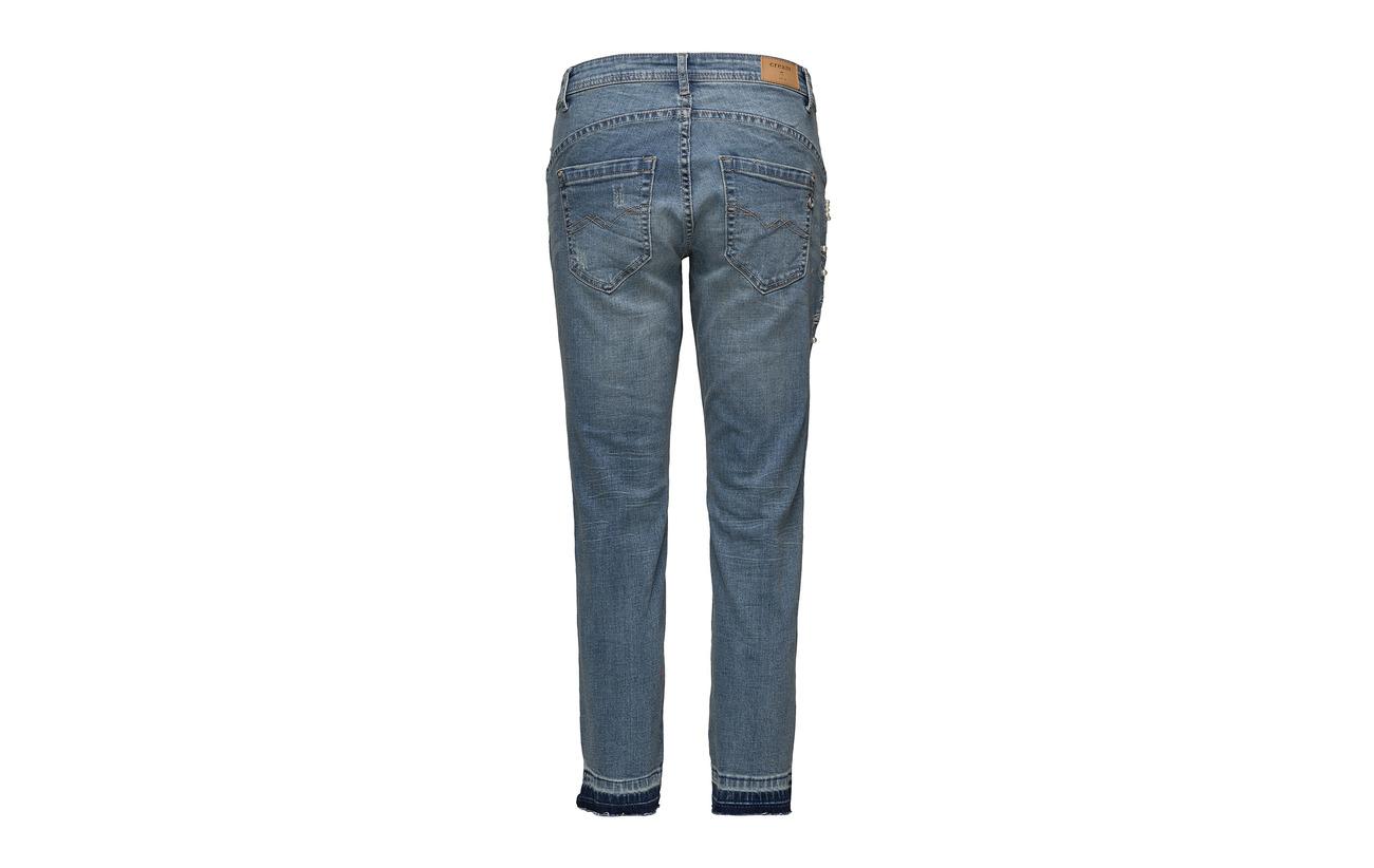 Elastane Coton Cara Coton Blue Intérieure Cream 100 Équipement Fit 98 Riped Denim 2 Medium Doublure Croped Relaxed qfpx6pda