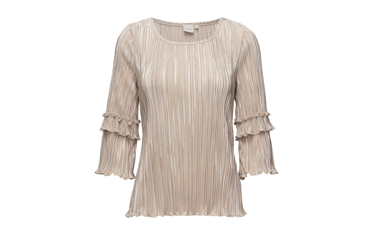 95 5 Blouse Cream Sand Golden Elastane Polyester Pleat SxwxRTnq7