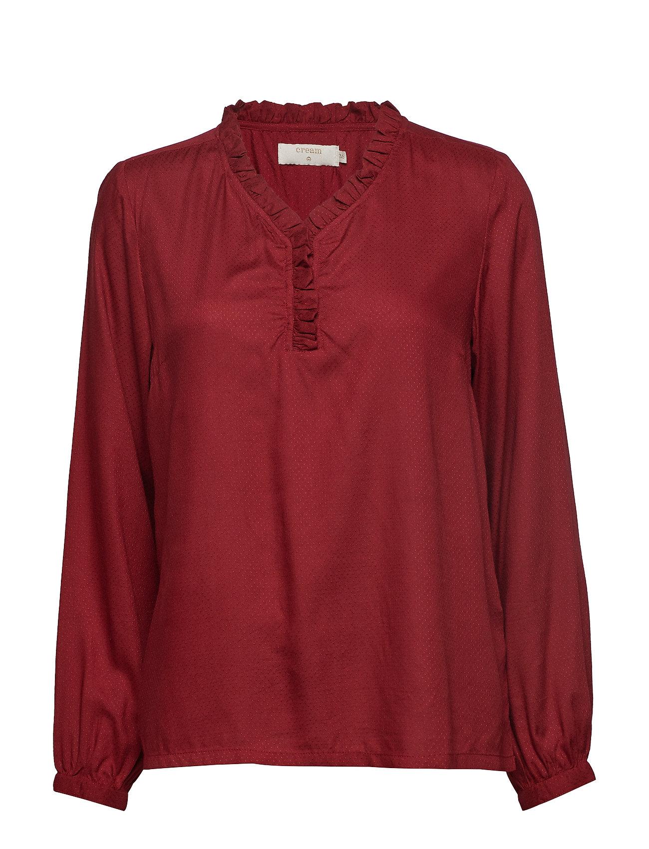Cream Gigi Shirt - MERLOT RED