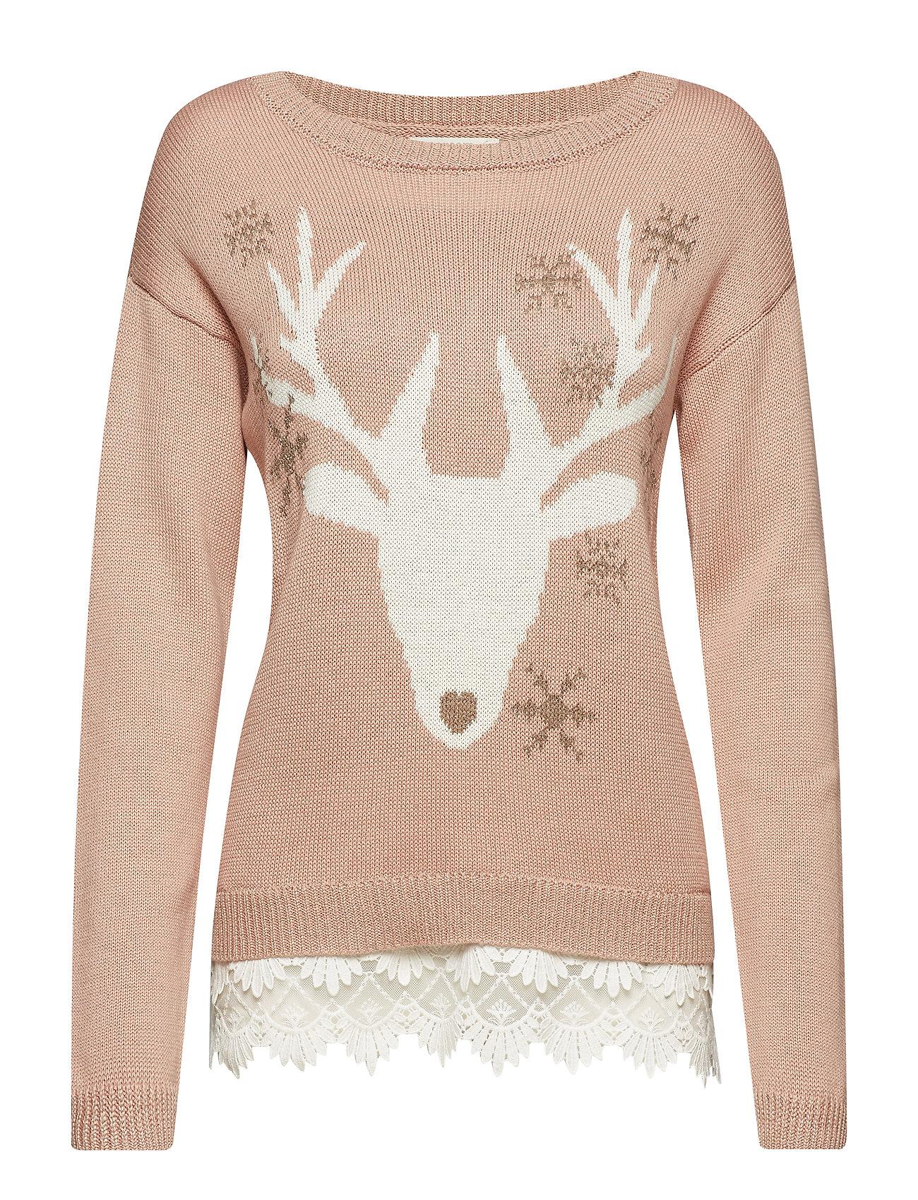 Cream Reindeer Pullover - BLUSH POWDER