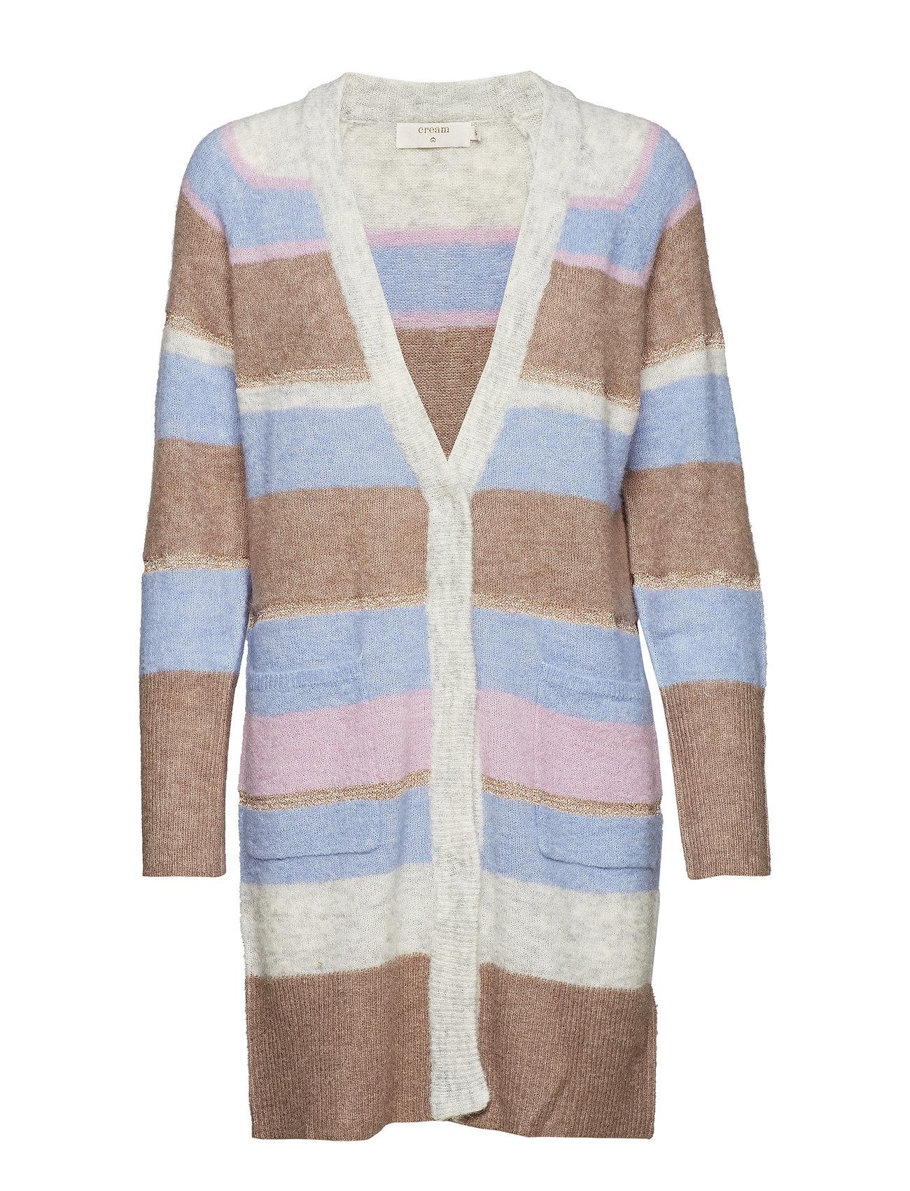 Cream Zoey Stripes Cardigan - LIGHT GREY MELANGE