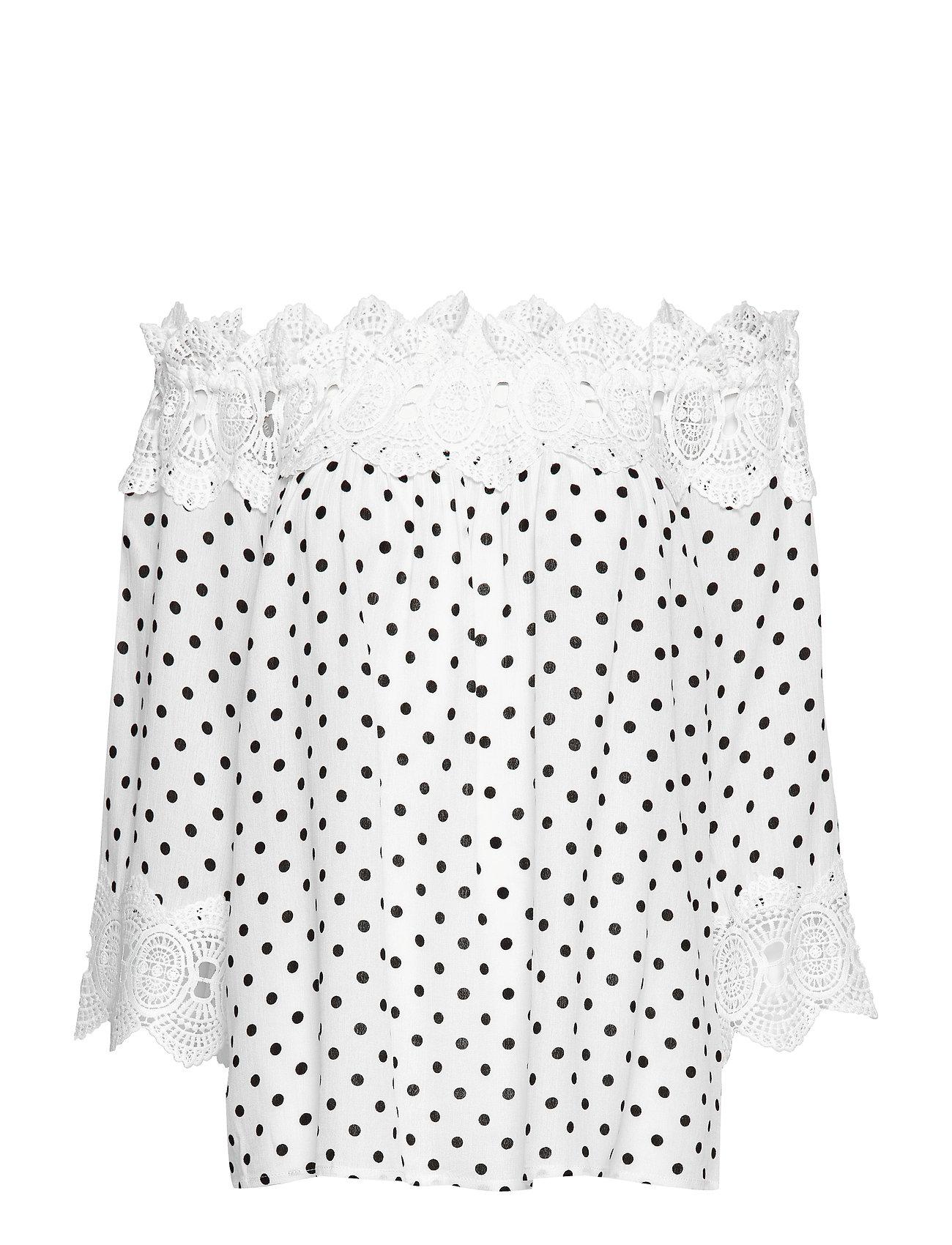 Cream Bea Dot blouse - CHALK WITH BLACK DOTS