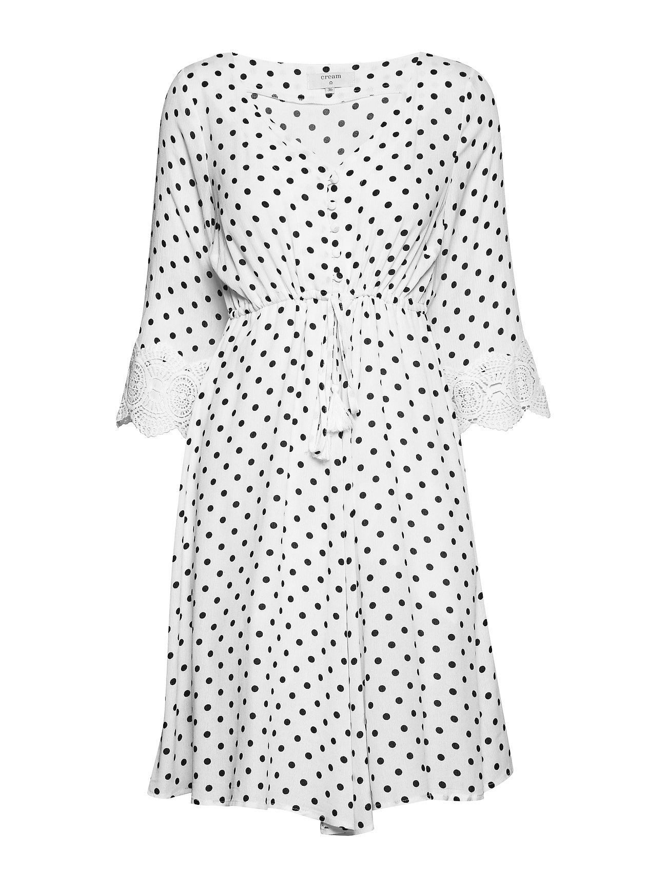 Cream Bea Dot Dress - CHALK WITH BLACK DOTS
