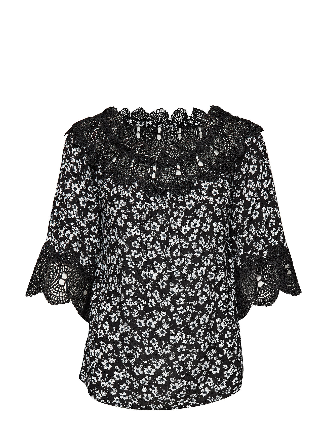 Cream Bea print blouse - PITCH BLACK / PITCH BLACK LACE