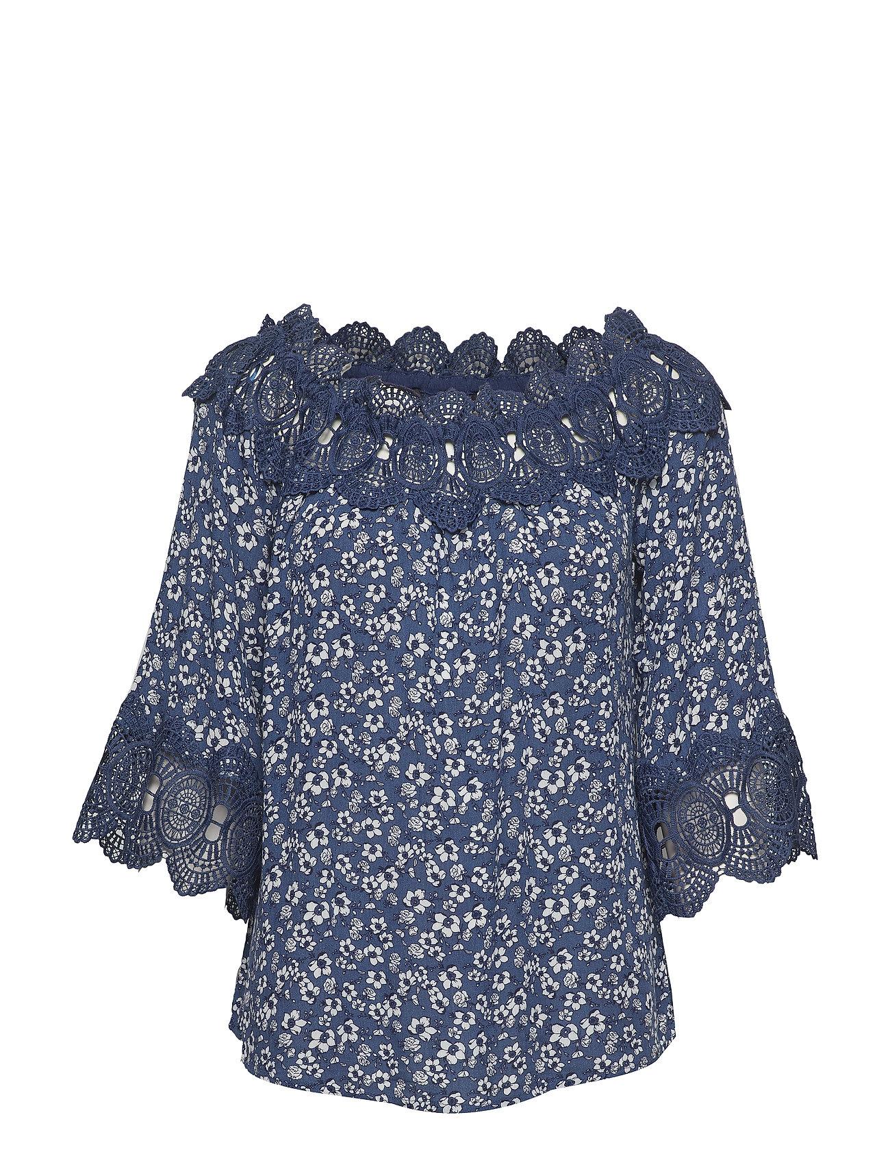 Cream Bea print blouse - DEPTHS MARINE / MARINE LACE